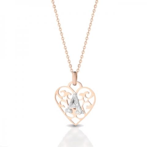 Catenina con cuore traforato Melissa Jewels in oro 18kt lettera e pavè di diamanti