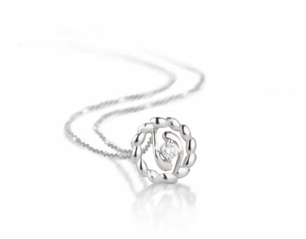 Catenina con pendente VERA modello Chicco di Riso in oro bianco 18kt e Diamante