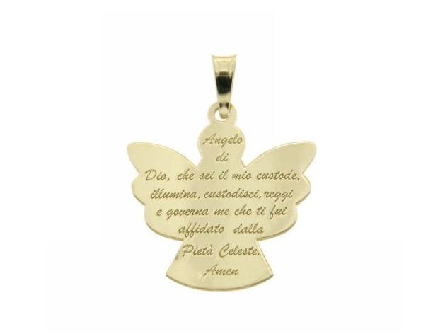 Catenina e ciondolo Angelo con preghiera in argento 925 placcato oro personalizzabile con nome o frase