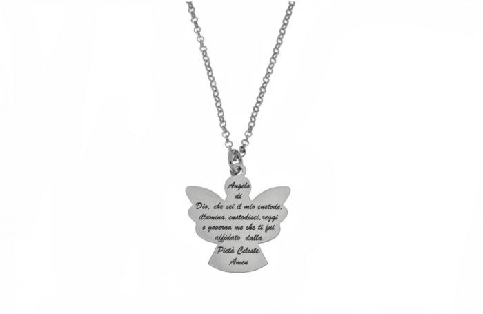 Catenina e ciondolo Angelo con preghiera in argento 925 rodiato personalizzabile con nome o frase