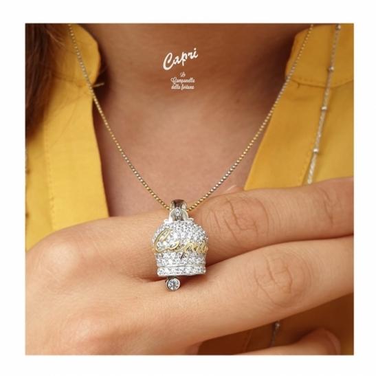 Catenina e ciondolo Capri la Campanella della Fortuna in argento 925% ed oro 18kt con pavè di zirconi