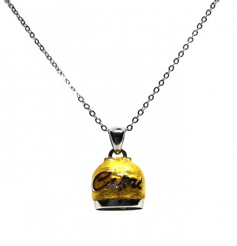 Catenina e ciondolo Campanella di Capri in argento 925% rodiato rivestita da vera foglia in Oro 18kt