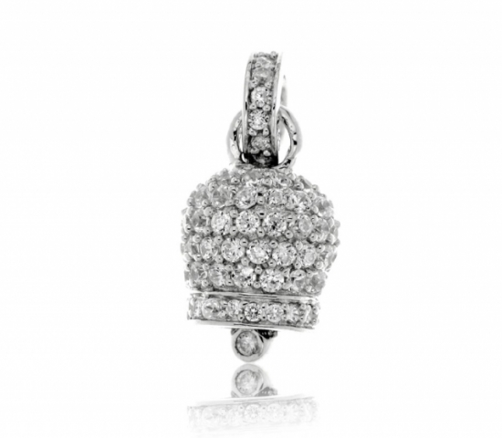 925 Silver Luky Bell Pendant with cubic zirconia