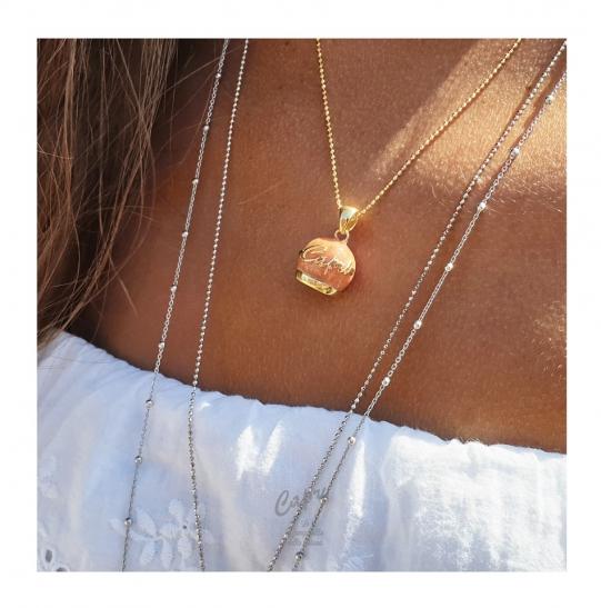 Catenina e ciondolo Capri la Campanella della Fortuna in argento 925% placcata oro 18kt rivestita da vero Corallo