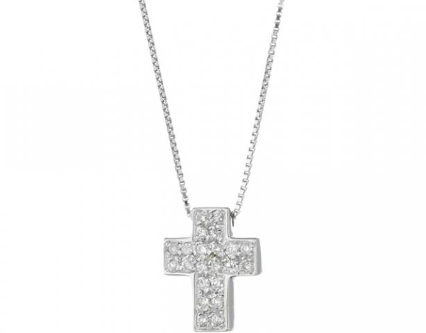 Catenina girocollo Diamonds Luxury con Croce e Diamanti 0.16ct in oro bianco 18kt