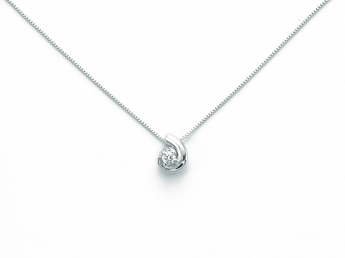 design di qualità 3f1d2 05987 Catenina girocollo Miluna con Punto Luce Diamante Naturale 0.03ct in oro  bianco CLD3487