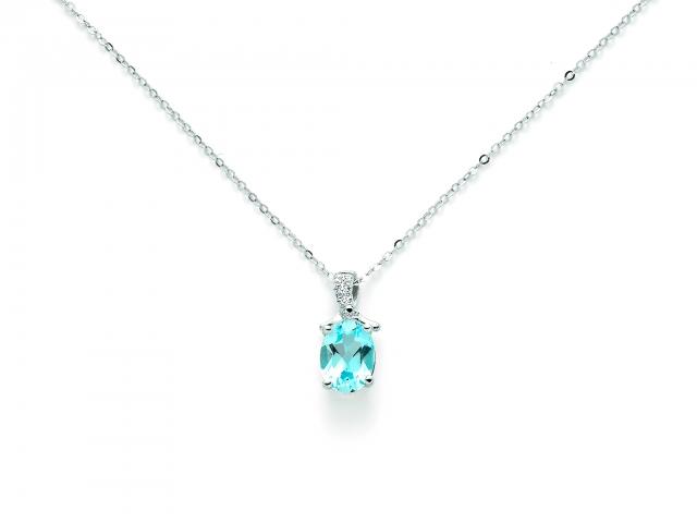 Catenina girocollo Miluna con Topazio azzurro e Diamanti Naturali 0.012ct in oro bianco CLD4108X