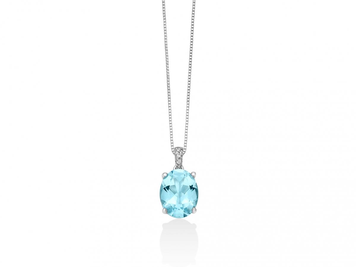 Catenina girocollo Miluna con Topazio azzurro e Diamanti Naturali 0.013ct in oro bianco CLD4068X