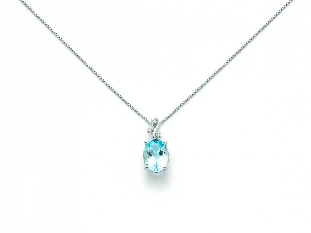 Catenina girocollo Miluna con Topazio azzurro e Diamanti Naturali 0.015ct in oro bianco CLD3992X