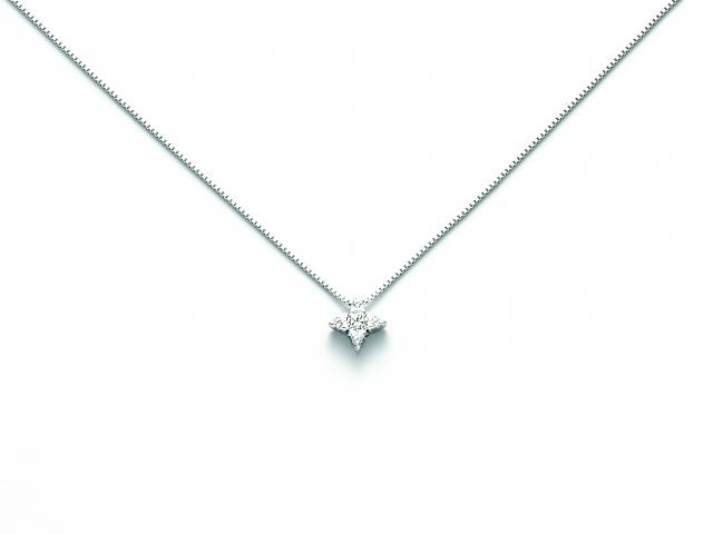 Catenina girocollo Miluna punto luce a Stella con Diamante Naturale 0.07ct in oro bianco CLD4023