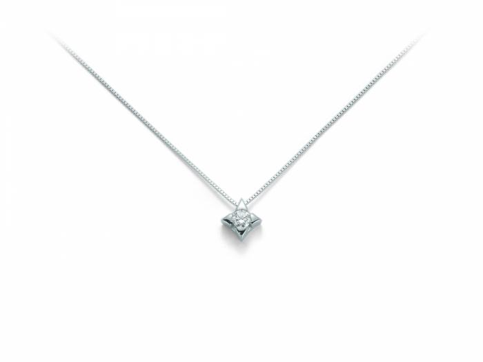 Catenina girocollo Miluna punto luce a Stella con Diamante Naturale 0.07ct in oro bianco CLD2937