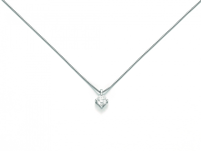 Catenina girocollo Miluna punto luce con Diamante Naturale 0.07ct in oro bianco CLD3994