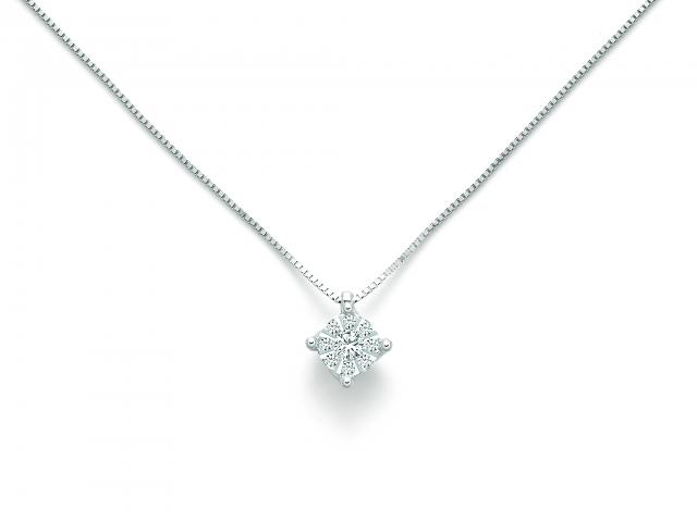 miglior servizio 12bfa c34d7 Catenina girocollo Miluna punto luce con Diamante Naturale 0.12ct in oro  bianco 18kt CLD4106