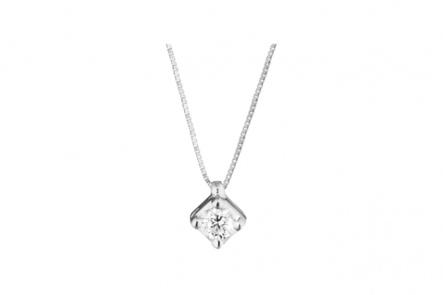 Catenina girocollo Punto Luce a Griffe Roger Gems con Diamante Naturale IF 0.12ct in oro bianco 18kt