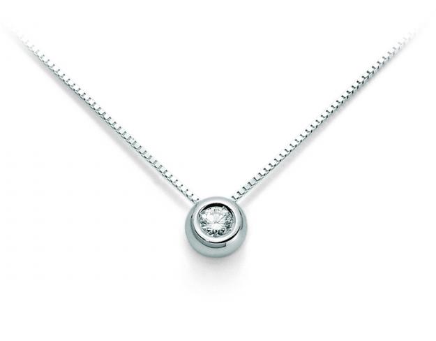 Catenina girocollo Punto Luce Roger Gems con Diamante Naturale IF 0.10ct in oro bianco 18kt