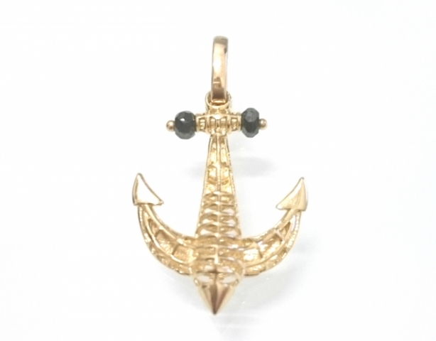 18k Yellow Gold Anchor pendant