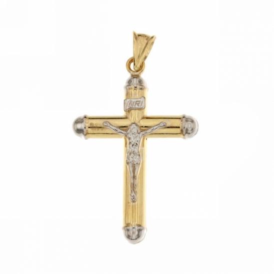 Ciondolo Crocifisso con Cristo in Croce in oro giallo 18kt scatolato