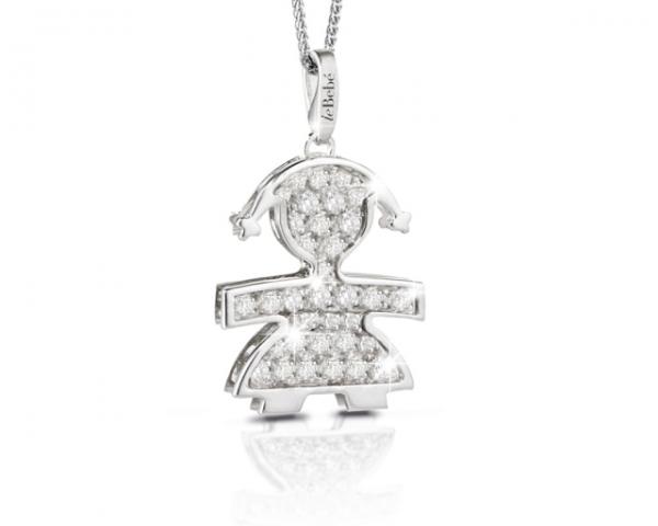 Ciondolo e catenina Le Bebè Pavè femminuccia grande con Diamanti in oro bianco 18kt LBB426