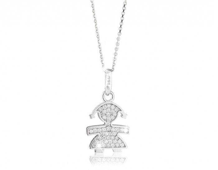 Ciondolo e catenina Le Bebè Pavè femminuccia medio con Diamanti in oro bianco 18kt LBB152