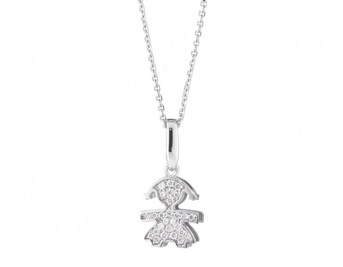 Ciondolo e catenina Le Bebè Pavè femminuccia mini con Diamanti in oro bianco 18kt LBB154