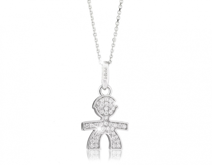 Le Bebè - 18K White Gold 0.22ct Natural Diamonds Boy Pendant Necklace customizable with name