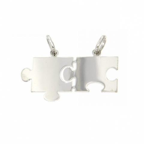 Ciondolo Puzzle spezzato divisibile in argento 925% rodiato con incisione fronte/retro