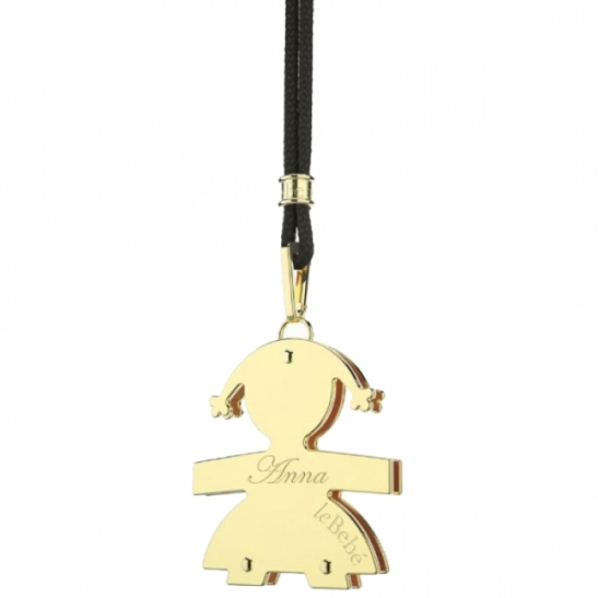 Le Bebè - 9K Yellow Gold Big Girl Pendant customizable with name