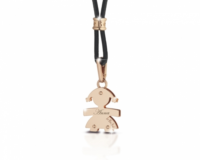 Le Bebè - 9K Rose Gold Middle Girl Pendant customizable with name