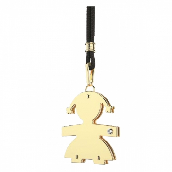 Le Bebè - 9K Yellow Gold and Natural Diamond Girl Pendant customizable with name