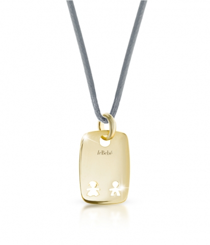 Le Bebè - 9K Yellow Gold Boy and Girl Pendant customizable with name