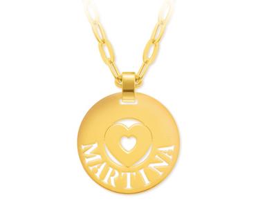 Ciondolo My Charm medio in oro bianco giallo o rosa personalizzabile con il nome