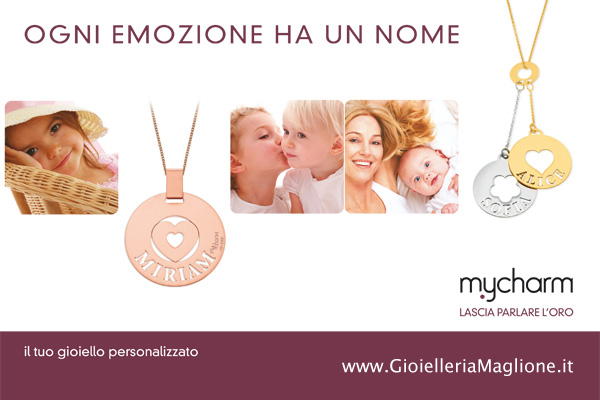 My Charm - Medium Pendant in white, yellow or pink gold with a customizable name
