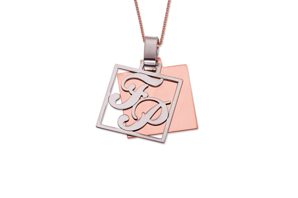 My Charm - Pendant in white, yellow or pink silver with a customizable name for Man