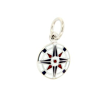 18K White Gold Compass Pendant