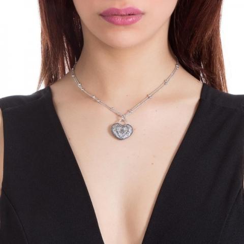 Collana BOCCADAMO Alissa con cuore pendente e glitter bicolor XGR242