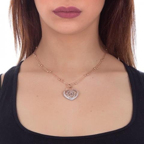 Collana BOCCADAMO Alissa con cuore pendente e glitter XGR242RS