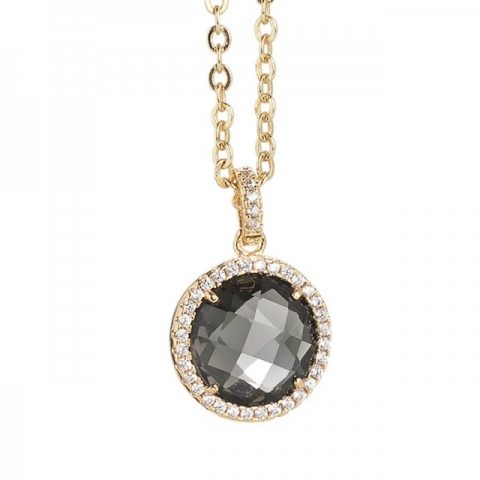Collana BOCCADAMO con cristallo smoky quartz e zirconi pendente XGR260D