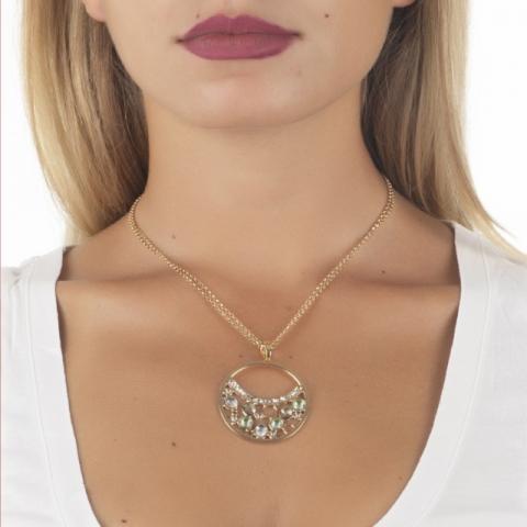 Collana BOCCADAMO doppio filo con pendente decorato di Swarovski crystal, chrysolite e gold XGR437D