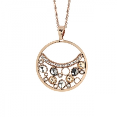 Collana BOCCADAMO doppio filo con pendente decorato di Swarovski crystal, peach e silver night XGR437RS