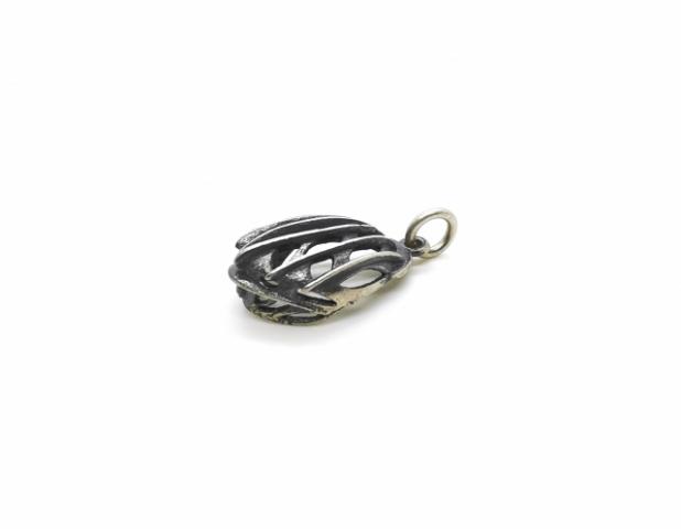 Collana con Casco da Bici in argento 925% brunito