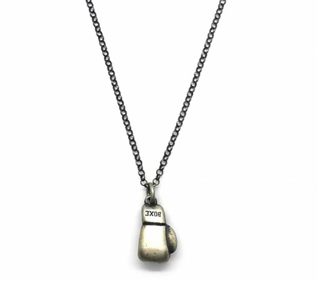 Collana con guantone Boxe da pugile in argento 925% brunito