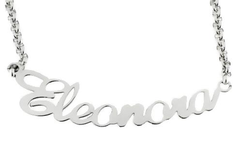 Collana con nome personalizzabile in acciaio anallergico bianco giallo o rosa