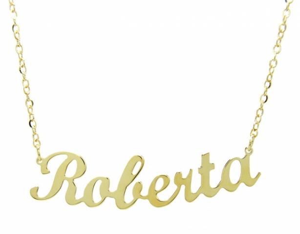 Collana con nome personalizzabile in argento 925 placcato oro taglio laser