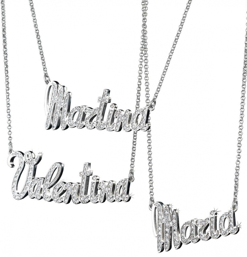 Collana con nome personalizzabile in argento 925 rodiato bianco e pavè zirconi