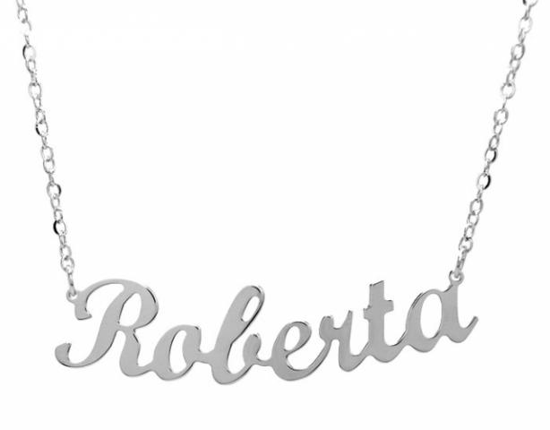 Collana con nome personalizzato in argento 925 rodiato e pietra