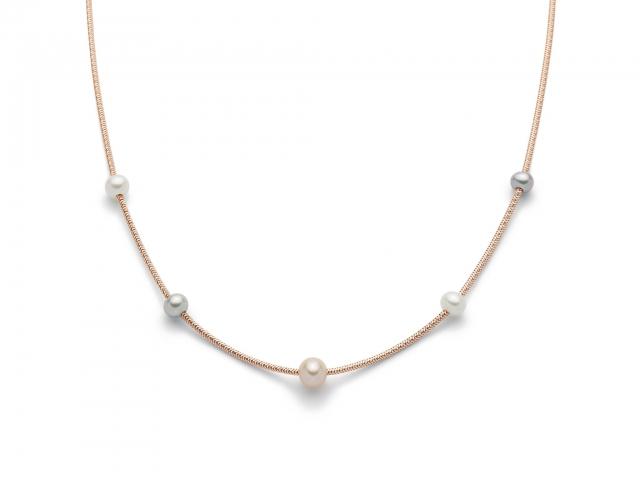 Collana con Perle in argento rosa 925% MISS ITALIA PCL5624R