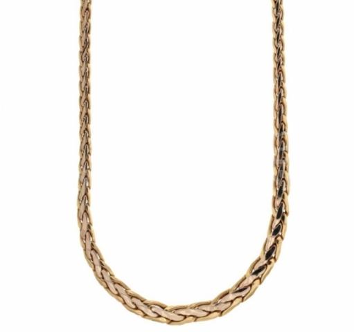 Collana girocollo modello Cobra piatto a scalare in oro giallo e bianco 18kt