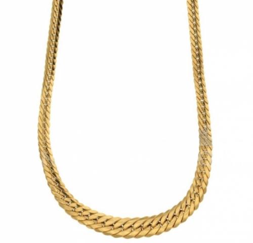 Collana girocollo modello maglia inglese a spiga piatta scalare in oro giallo 18kt