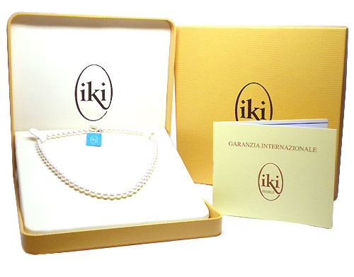Collana IKI in oro bianco 18kt con Perle Coltivate Asia 6.00 mm