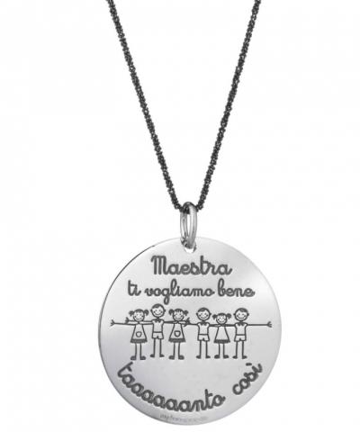 Collana in argento 925% con Medaglia incisa per la Maestra